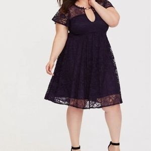 Torrid 1 | Lace Trapeze Babydoll Dress Purple 1X